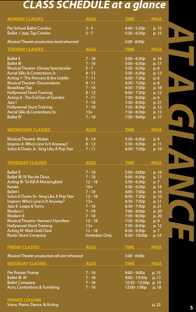 Gold Fall Catalog Schedule
